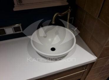 Раковина-чаша для ванной комнаты из белого искусственного камня