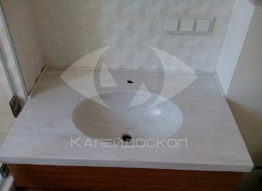 Столешница для ванной комнаты с литой раковиной из акрилового камня мраморной расцветки
