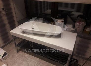 Столешница для ванной комнаты из акрилового камня с настольной раковиной